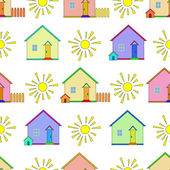 Background, houses and sun — Stock Vector