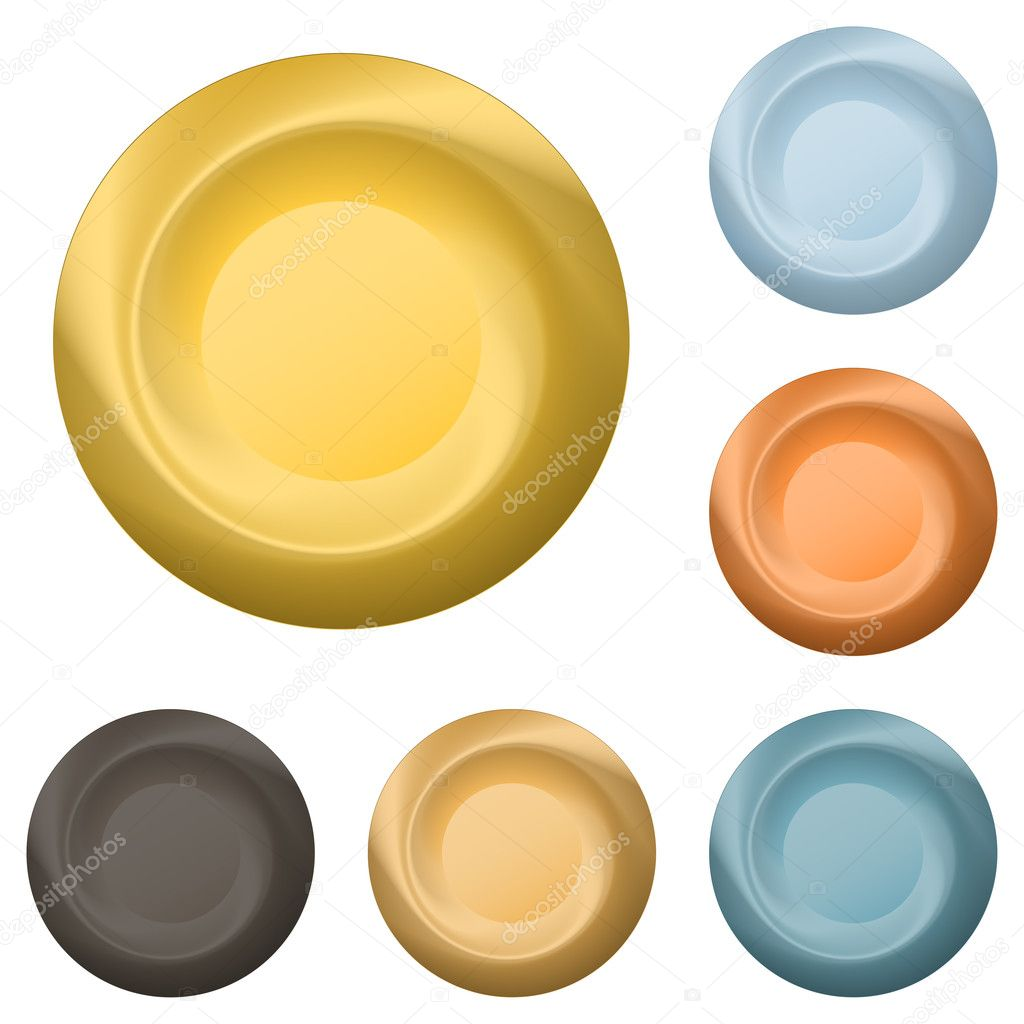 Set various vector icons, round buttons from various metals  Stock Vector #5393593