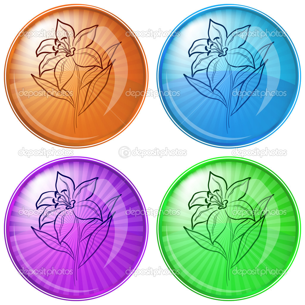 Icons, set buttons: flowers lily, vector eps10  Stock Vector #5403850