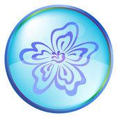 Christmas icon button - flower — Stock Vector