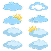 Labels, clouds and sun — Stock Photo