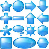 Icons buttons blue, set — Stock Vector