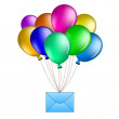 Balloons with mail — Stock Photo