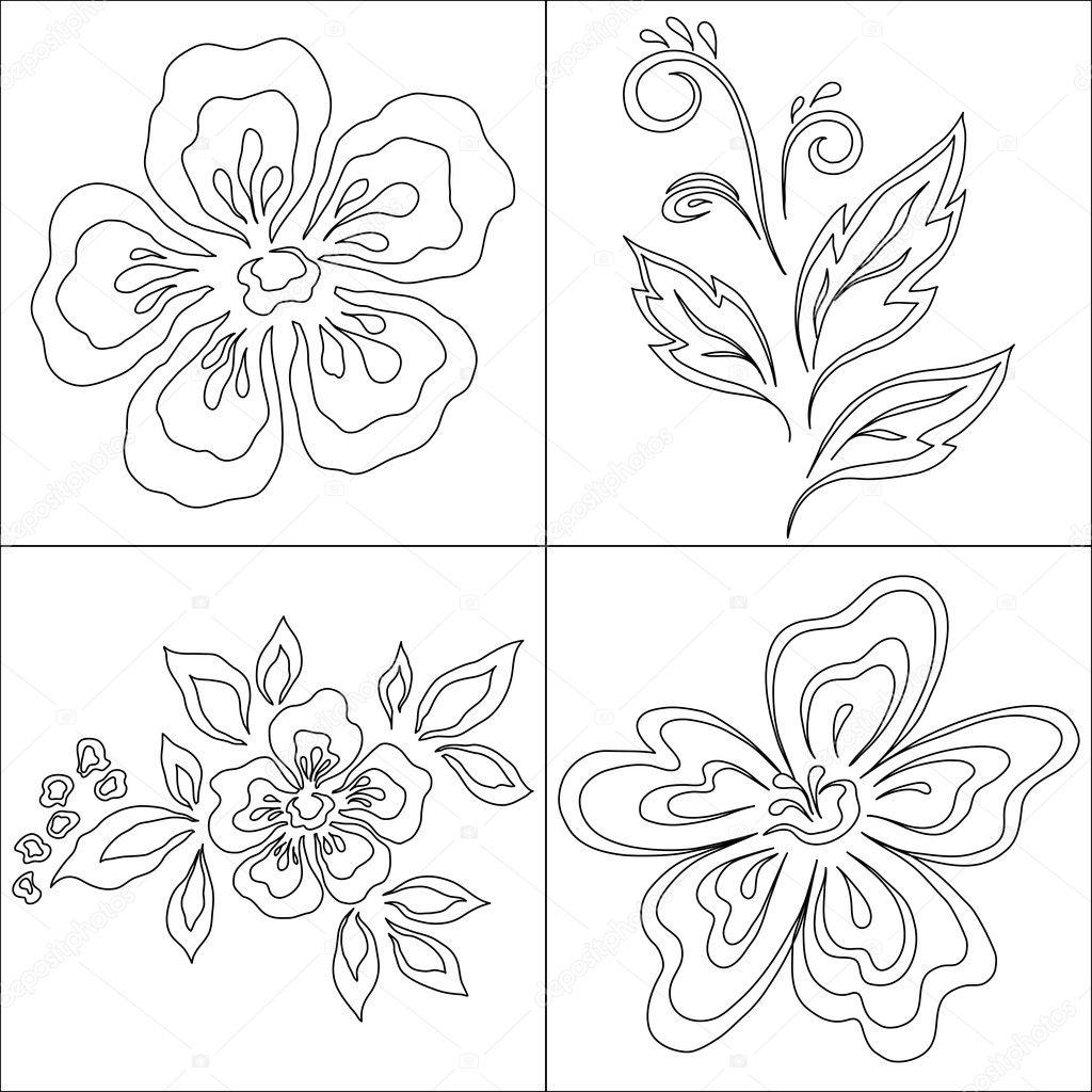 抽象的符号的花朵,黑色单色轮廓设置
