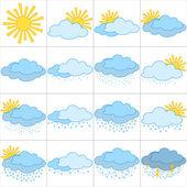 Icônes météo set — Vecteur