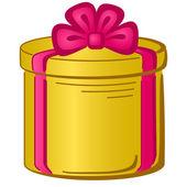 круглая коробка подарка — Cтоковый вектор