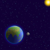 Earth, moon and sun — Stockvektor