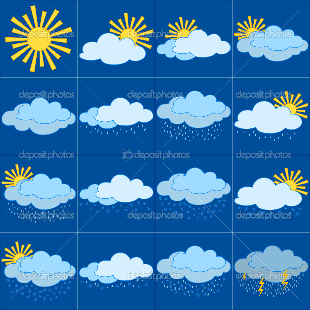 Set vector weather icons, illustrating the various natural phenomena  Stock Vector #5660642