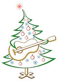 Fir-tree with guitar, pictogram — Stock Vector