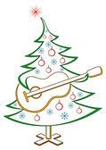 Çam ağacı ile gitar, sembol — Stok Vektör