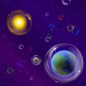 Planets and sun in bubbles — Stock Vector