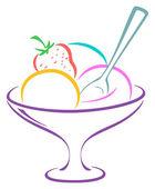 Ice-cream in a vase — Stock Vector