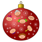 圣诞树装饰与面孔 — 图库照片