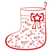 Stocking with bows, pictogram — Stock Photo