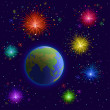 Earth and firework — Stock Photo
