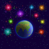 Earth and firework — Stock Vector
