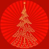 Christmas fir-tree on red — Stock Photo
