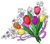 Flower, tulips, bouquet — Stock Vector
