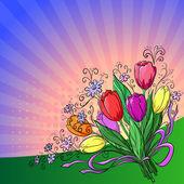 Flower background, tulips — Stock Vector