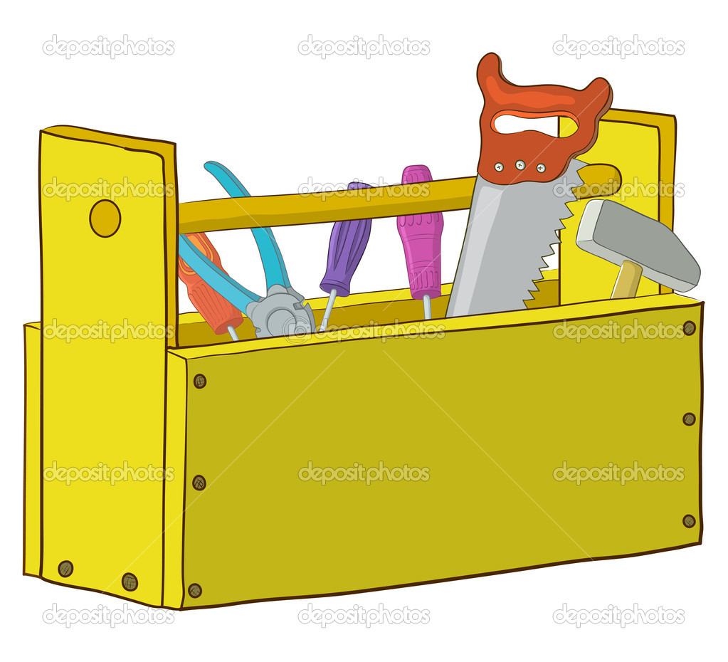 Wooden box with operating tools, Isolated, vector  Stock Vector #5520917