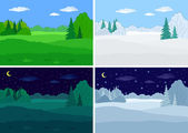 風景, 森林, セット — ストックベクタ