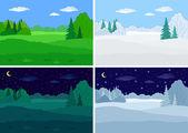 Landscape, forest, set — Stock Vector