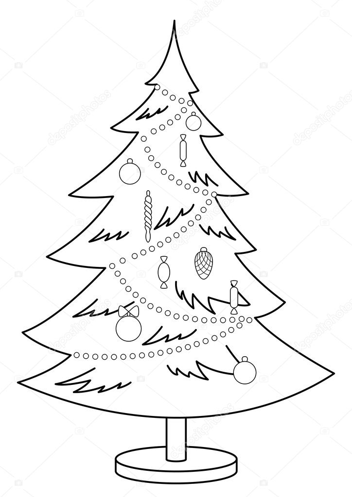 Christmas fur-tree with toys and ornament, monochrome contours  Stock Vector #5706106