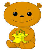 Teddy bear with a gift box — Stock Vector
