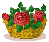 Basket with flowers roses — Stok fotoğraf