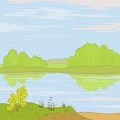 Landscape. Forest river — Stock Vector