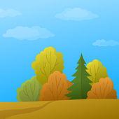 Landscape, autumn forest — Stock Vector