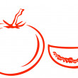 Royalty-Free Stock Imagem Vetorial: Tomato and segment, pictogram