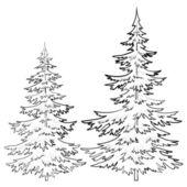 輪郭の毛皮ツリー — ストックベクタ