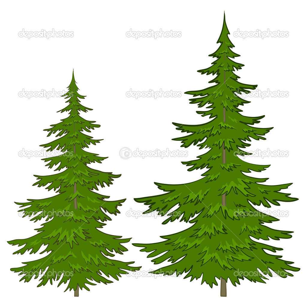 Trees, vector, christmas green fur-trees, isolated on a white background — Vettoriali Stock  #5846350