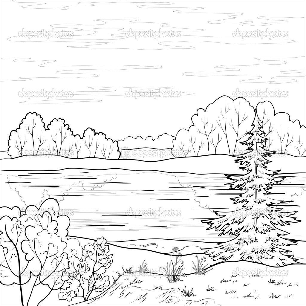 depositphotos_5850308 Landscape. Forest river outline in addition nature scenery colouring pages 1 on nature scenery colouring pages along with nature scenery colouring pages 2 on nature scenery colouring pages furthermore nature scenery colouring pages 3 on nature scenery colouring pages furthermore nature scenery colouring pages 4 on nature scenery colouring pages