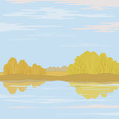 Landscape. Forest river — Vector de stock