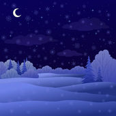 Landscape, night winter forest — Stock Vector