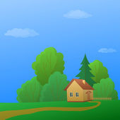 House in forest — Stock Vector