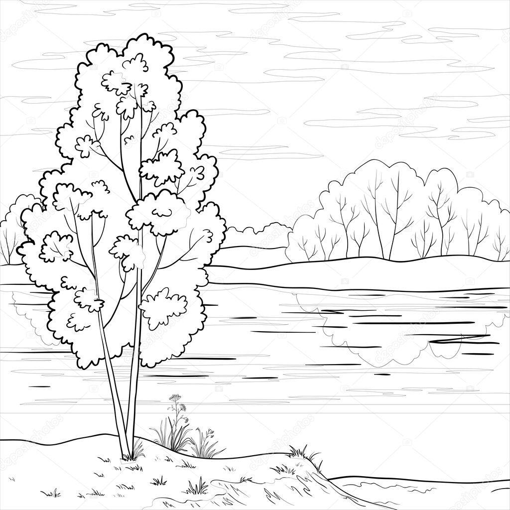 Contour Line Drawing Of A Landscape : Landscape forest river outline — stock vector oksanaok