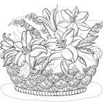 gift basket : Vector, контуры, плетеные корзины с цветами лилии и листьев.