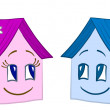 Houses girl and boy, contours - Stock Photo