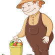 Gardener with apples - Stock Photo