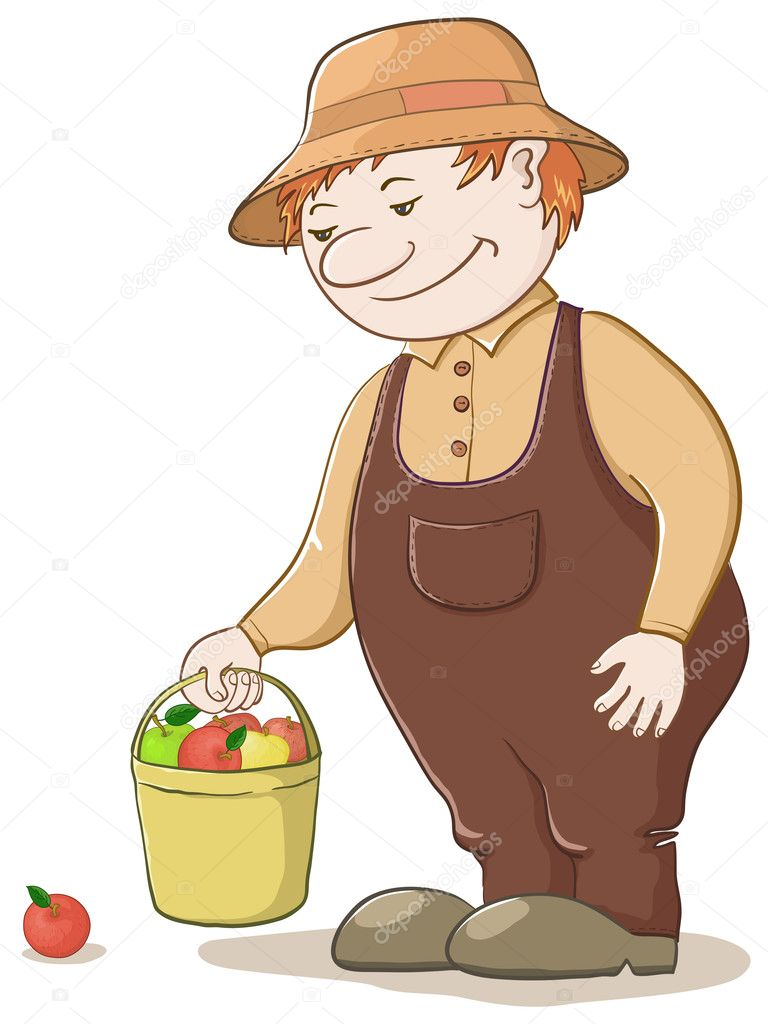 Men gardener with a bucket of ripe delicious apples  Stock Photo #6075646