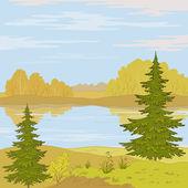Paisaje. río del bosque — Vector de stock