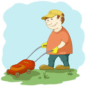 Lawn mower man — Stock Vector