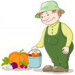 Gardener with vegetables — Stock Photo