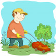 Lawn mower man — Stockfoto