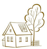 House with a tree, pictogram — Stock Vector