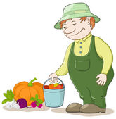 Gardener with vegetables — Stock Vector