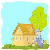 Jardineiro rega uma flor — Vetor de Stock